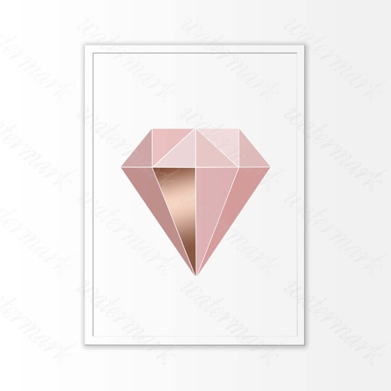 picture regarding Diamond Printable called Purple rose gold Diamond printable, innovative Wall Artwork, Coral electronic poster, Scandinavian house decor. Quick Obtain