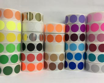 "1"" Inch Round Color Coded Inventory Dot Stickers - 500 labels per roll"