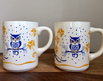 Vintage Pair Of Blue Yellow Owl Mugs, Porcelain Novelty Mugs, Made In Canada.