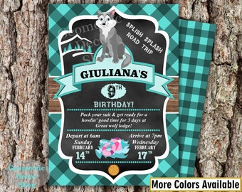 Lumberjack Birthday Party Invite First Birthday Wilderness Aqua Plaid Lumber Jack Invitation Rustic Great Wolf Lodge turquoise Girl BDLJ37