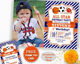 All Star Birthday Party Invitation Invite Soccer Baseball Basketball Football 1st 2nd Boy Blue Orange Photo Photograph Printable First BDSP4