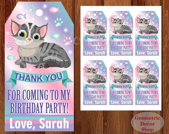 Cat Thank you cards Kittens Favor tags digital gift Decoration Pink Purple green birthday printable DIY Thank you card tag Kitten FTCat1