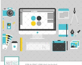 Office Clipart, Computer Clipart, Work Clipart, vector graphics, Laptop clip art, digital images