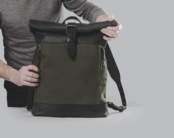 Waxed canvas and leather backpack Roll top backpack by Kruk Garagе Hand waxed canvas and leather backpack Men's bag Birthday gift