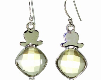 Lemon Quartz Earrings, 925 Sterling Silver, Unique only 1 piece available! color yellow, weight 6g, #27936