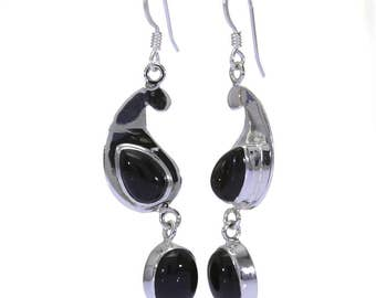 Black Onyx Earrings, 925 Sterling Silver, Unique only 1 piece available! color black, weight 6g, #31256