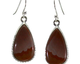 Mookaite Earrings, 925 Sterling Silver, Unique only 1 piece available! color red, weight 5.1g, #28983