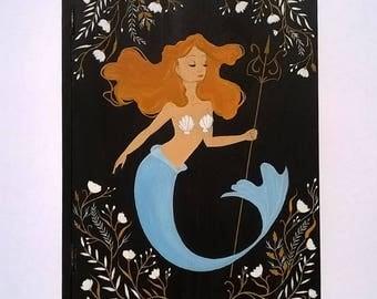 Hand Painted Wooden Mermaid Trinket Box