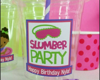 12 Personalized Slumber Party themed  Party Cups with  Straws and Lids!