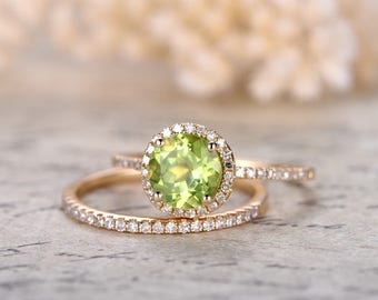 Peridot Engagement Ring Set 7mm Round Cut Peridot Bridal Sets And Diamond Wedding Band Solid 14K Yellow Gold Bridal Wedding Ring Set