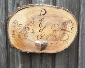 A unique present made from your child's drawing on a wood slice with a small copper accent ~ an ideal keepsake, gift for mum on mothers day