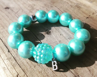 Teal pearl beaded bracelet with sparkle and initial