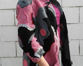 crocheted women coat - cardigan freeform, patchwork, boho style