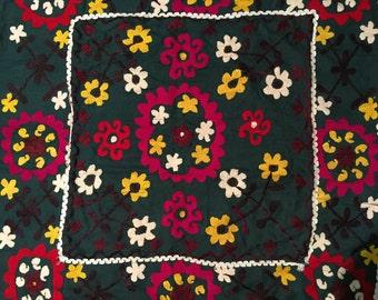 Antique Embroidery-Old Textiles-Uzbek Suzani Embroidery-Uzbek Handwork-Silk Thread-Silk Fabric-Afghanistan Uzbek Handmade