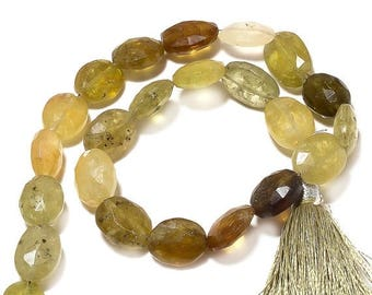 ON SALE 50% Grossular Garnet Faceted Oval Beads, Vesuvianite Beads, Oval Nuggets, 7mm To 8mm, 5 Inch Half Strand, SKU-Aa74