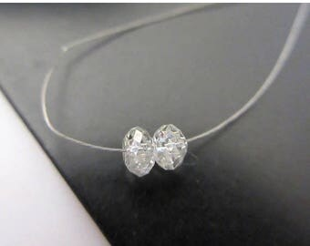 ON SALE 50% 2 Pieces 3.2mm Clear White Diamond Faceted Rondelle Beads, Clear White diamond Beads, Dds481/1