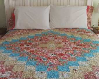 "QUILT-QUEEN/FULL  w/ 2 Shams- Professionally Quilted- 100% Cotton-Floral Print-Approx. 86""x84"""