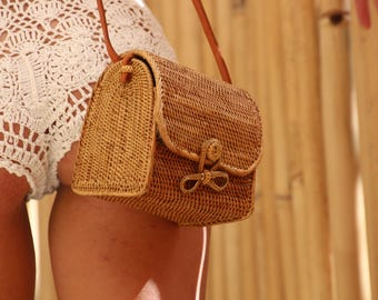 Small Mail basket bag, small woven Ata bag, small rattan basket bag