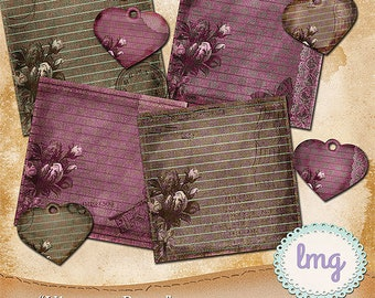 Vintage Rose Digital Junk Journal Papers with Heart Tag Embellishments, Shabby Chic, Junk Journaling, Scrapbooking, Instant Download, CU