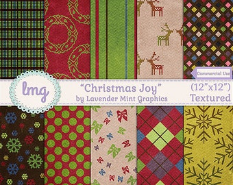 """Christmas Digital Scrapbook Paper - """"Christmas Joy"""" - Holiday Backgrounds, Reindeer, Wreaths, Snowflakes, Instant Download, Commercial Use"""