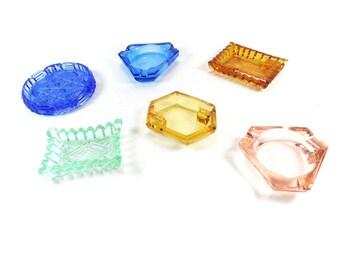 Glass Ashtrays - Set of Six Small Ashtrays - Colored Ashtrays - Retro Glass