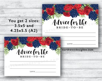 DIGITAL - Red Navy Floral Advice for the Bride to be Card Blue and Red Floral Bride-to-be Wedding Advice Cards Botanical Advice Card