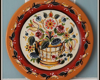 Hand Painted Wooden plate,Os style,Norwegian Rosemaling