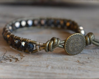 Beaded Leather Bracelet, Boho Chic Bracelet, Bohemian Bracelet, Leather Beaded Bracelet, Women's Handmade Bracelet