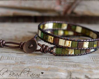Tile Bead Wrap Bracelet,  Beaded Wrap Bracelet, Tila Wrap, Leather Beaded Wrap, Leather Wrap Bracelet, Boho Wrap Bracelet, Wrap Bracelets