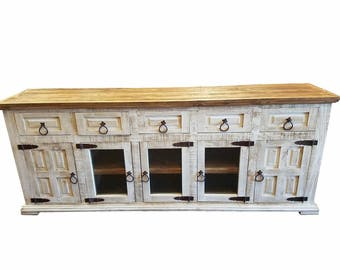 80 inch hi end rustic tv stand 5 doors 5 drawers western solid wood white distressed