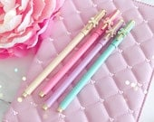 GEL PEN - Fancy Pastel BOW GeL Pen  Planner Pens / Teacher Gift / Life Planner Accessories Stationery