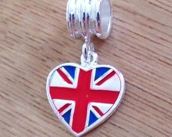 Union Jack Slider Charm Bead English Great Britain UK London Flag 925 Sterling Silver Heart European bracelet Jewellery UK