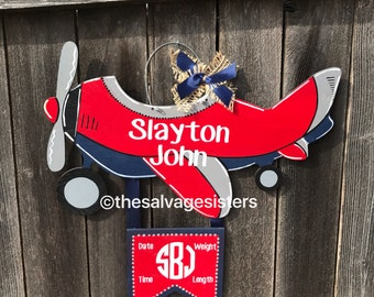 Hospital Door Hanger, Airplane door hanger, airplane nursery decoration, boy door hanger, hospital door announcement