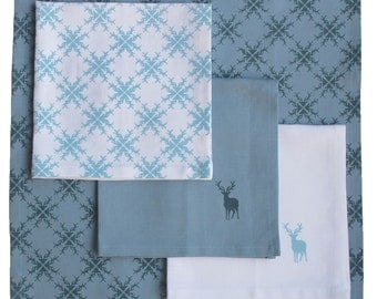 Set of 4 linen napkins, hand printed stag pattern