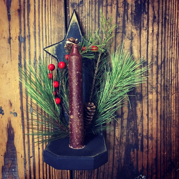 Primitive Shelve Sconce with Prim Candle and Evergreens