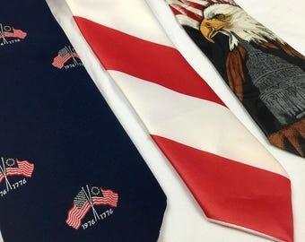 SALE Vintage Patriotic Neckties Lot of 3 1970s 80s 90s Ties Ralph Marlin Beau Brummel Fratello 1776 American Flag Red White Blue under 20