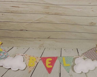 Wall name banner, baby room wall banner, baby room wall hanging, baby room wall decor, baby name wall hanging, sun and clouds wall hanging