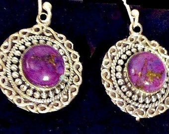 Dangle Earrings,Sterling Silver,Exquisite Filigree,Purple Stones,Frida Kahlo Style,Sterling,Unique Southwestern,Gift for Women, Holiday Gift
