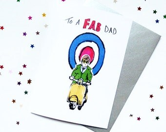 Mod Fathers Day Scooter Target vespa retro illustration card