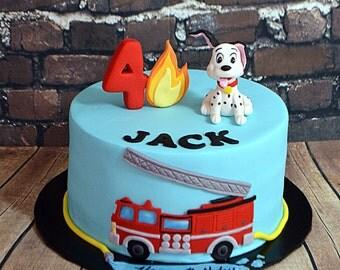Fire Truck Theme Cake Decorating Kit (100% Edible)