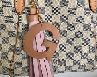 Vachetta Large Initial and Pink Leather Tassel