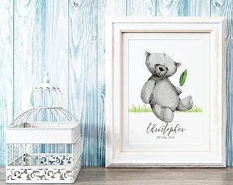 Personalised Birth Print | Teddy Bear Print | Personalised Nursery | Nursery Print | New Baby Gift | Nursery Wall Art | Baby Boy Print