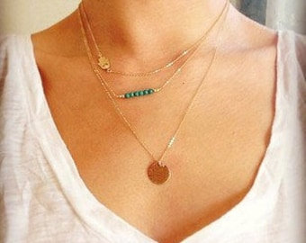 Layer Coin Necklace, Gold Plated, Minimalist, Charm Necklace