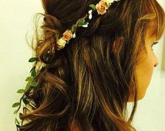 Ivory Wedding Flower Crown, Flower Halo,  Natural Wedding, Garland Hair Wreath, Ivory Floral Crown, Bridal Flower Halo, Flower Girl Crown