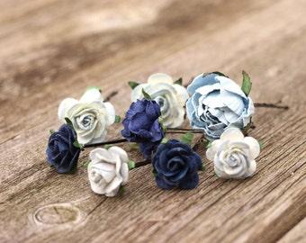 Small Hair Flowers Navy Bridal Hair Pins, Wedding Hair Picks, Boho Wedding Headpiece, Crown Flower, Bobby Pins, Light Blue Bridal Hair Piece