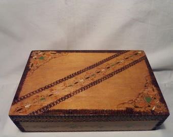 Vintage Handmade Wooden Jewelry Box