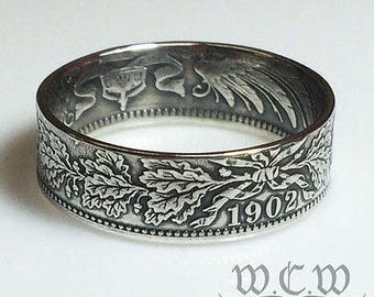 Silver German Coin Ring - Choose Your Date (1874-1916) - Germany 1 Mark Coin