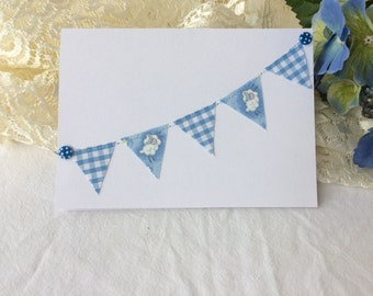 Personalised Kraft Hand made Fabric Bunting Stitched new baby baby boy Celebration Blank card