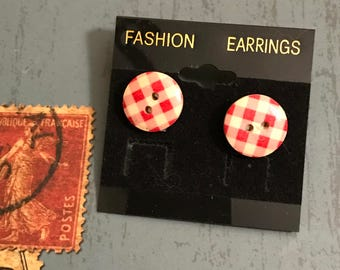 Small Red Gingham Button Post Earrings