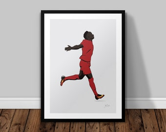 Sadio Mane Liverpool Illustrated Poster Print | A6 A5 A4 A3